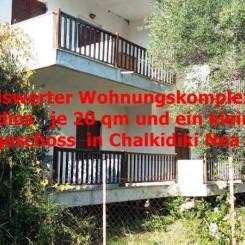 Preiswerte Wohnungskomplex mit 8 Studios je 20 qm und ein kleiner Laden im Erdgeschoß in Chalkidiki Nea Skioni .